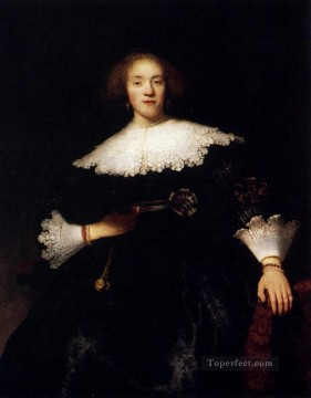 Portrait Of A Young Woman With A Fan Rembrandt Oil Paintings